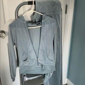 Blue gray velour track suit